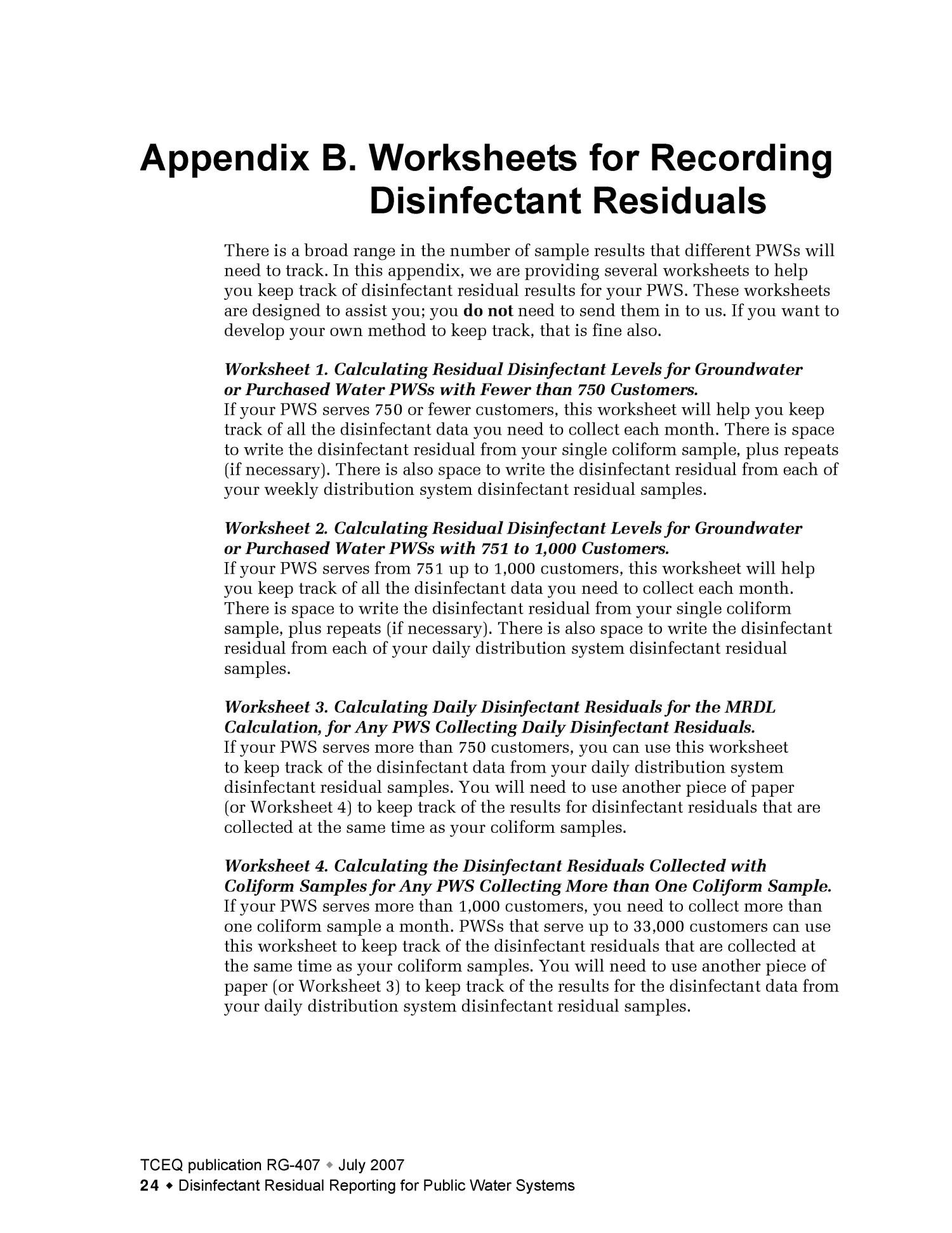 Disinfectant Residual Reporting for Public Water Systems Page – Texas History Worksheets