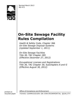 Primary view of object titled 'On-Site Sewage Facility Rules Compilation'.