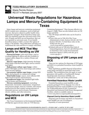 Primary view of object titled 'TCEQ Regulatory Guidance RG-377 Universal Waste Regulations for Hazardous Lamps and Mercury-Containing Equipment in Texas'.