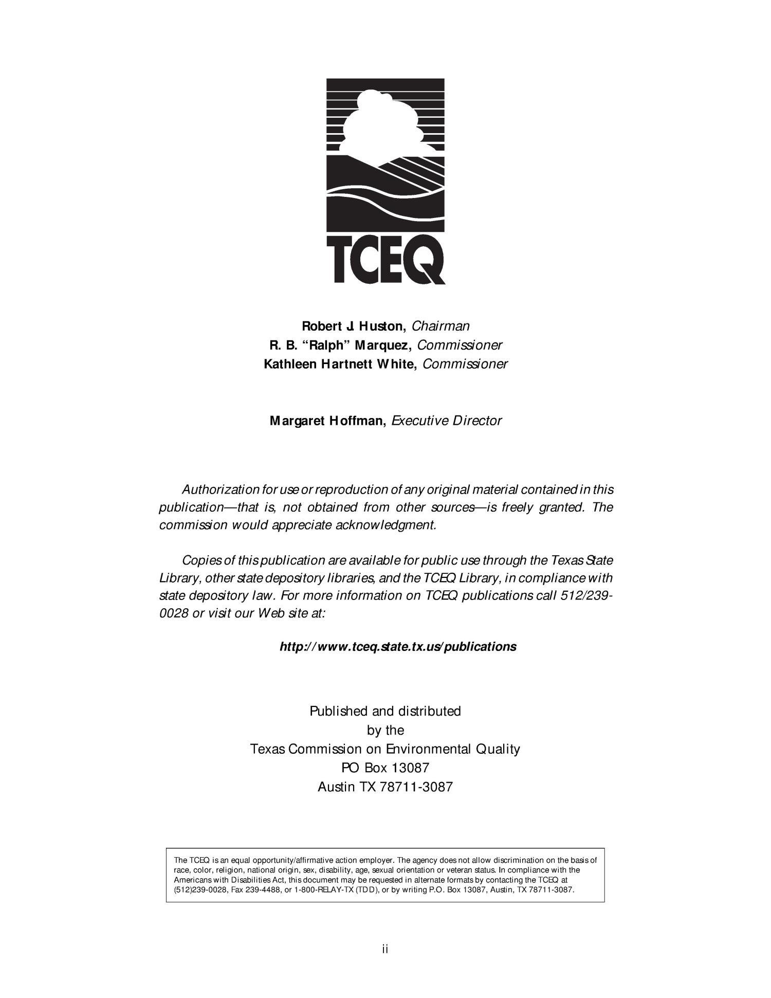 Texas Commission on Environmental Quality Regulatory Guidance RG-357 The Feasibility of Regionalizing Water and Wastewater Utitlies: A TCEQ Policy Statement                                                                                                      II