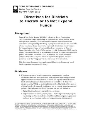 Primary view of object titled 'Directives for Districts to Escrow or to Not Expend Funds'.