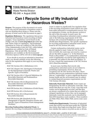 Primary view of object titled 'Can I Recycle Some of My Industrial or Hazardous Wastes?'.