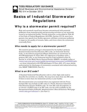 Primary view of object titled 'Basics of Industrial Stormwater Regulations'.