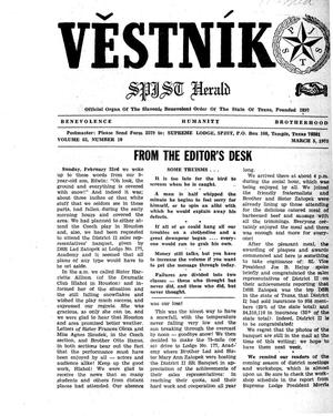 Primary view of object titled 'Věstník (West, Tex.), Vol. 63, No. 10, Ed. 1 Wednesday, March 5, 1975'.