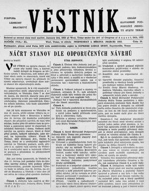 Primary view of object titled 'Věstník (West, Tex.), Vol. 40, No. 10, Ed. 1 Wednesday, March 5, 1952'.