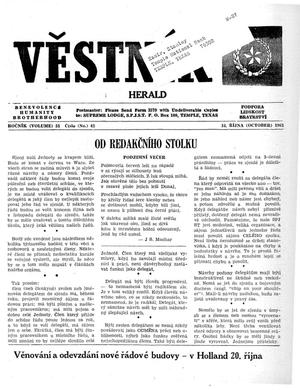 Primary view of object titled 'Věstník (West, Tex.), Vol. 51, No. 42, Ed. 1 Wednesday, October 16, 1963'.