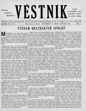 Primary view of object titled 'Věstník (West, Tex.), Vol. 40, No. 2, Ed. 1 Wednesday, January 9, 1952'.