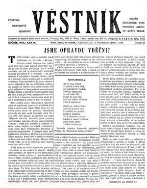 Primary view of object titled 'Věstník (West, Tex.), Vol. 36, No. 50, Ed. 1 Wednesday, December 8, 1948'.