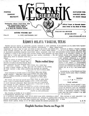 Primary view of object titled 'Věstník (West, Tex.), Vol. 45, No. 37, Ed. 1 Wednesday, September 11, 1957'.