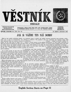 Primary view of object titled 'Věstník (West, Tex.), Vol. 50, No. 35, Ed. 1 Wednesday, August 29, 1962'.