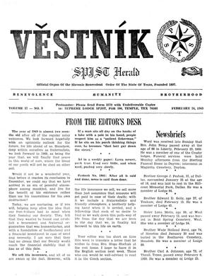 Primary view of object titled 'Věstník (West, Tex.), Vol. 57, No. 9, Ed. 1 Wednesday, February 26, 1969'.