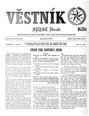 Primary view of object titled 'Věstník (West, Tex.), Vol. 57, No. 20, Ed. 1 Wednesday, May 14, 1969'.