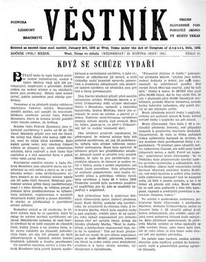 Primary view of object titled 'Věstník (West, Tex.), Vol. 39, No. 21, Ed. 1 Wednesday, May 23, 1951'.