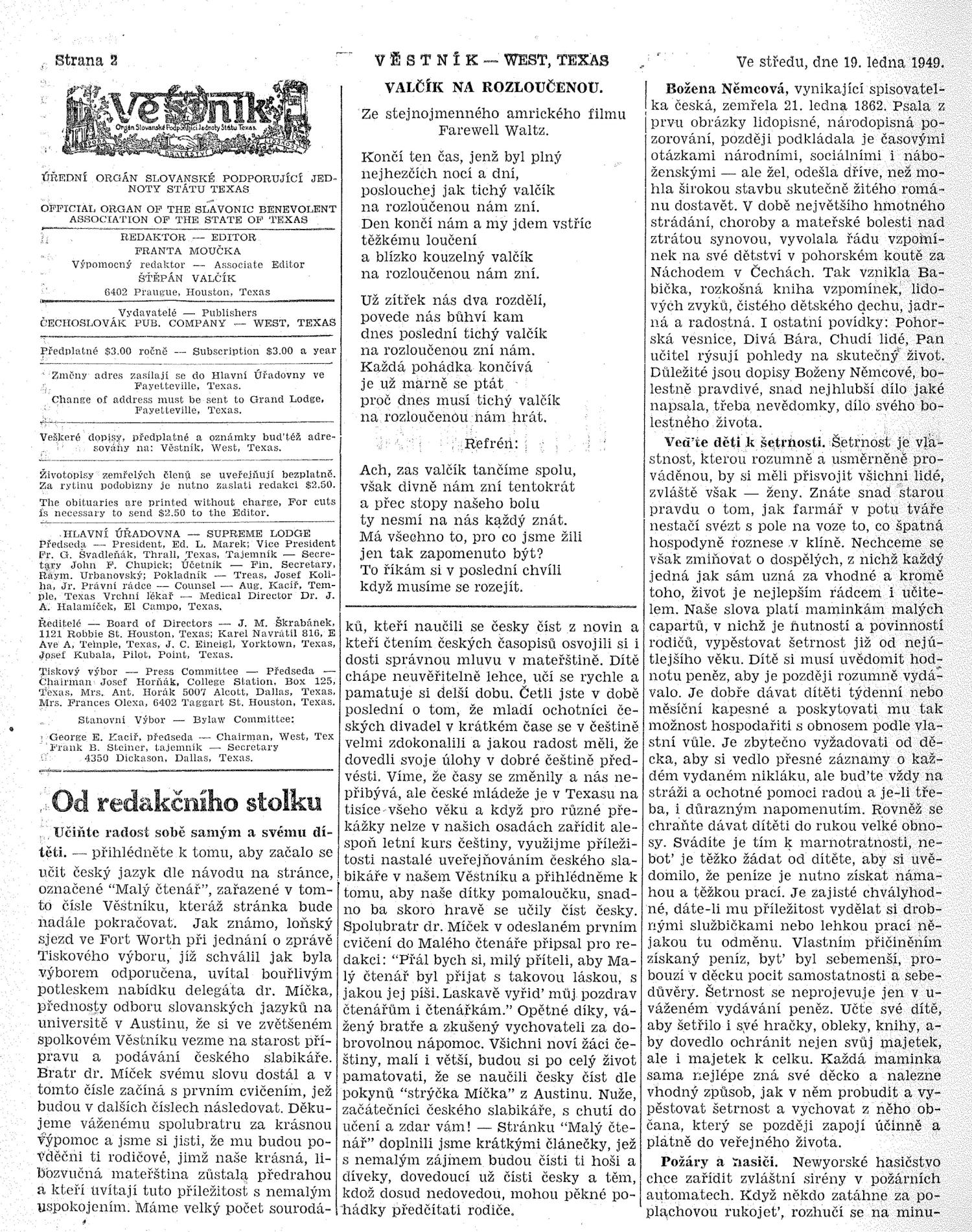 Věstník (West, Tex.), Vol. 37, No. 3, Ed. 1 Wednesday, January 19, 1949                                                                                                      [Sequence #]: 2 of 32