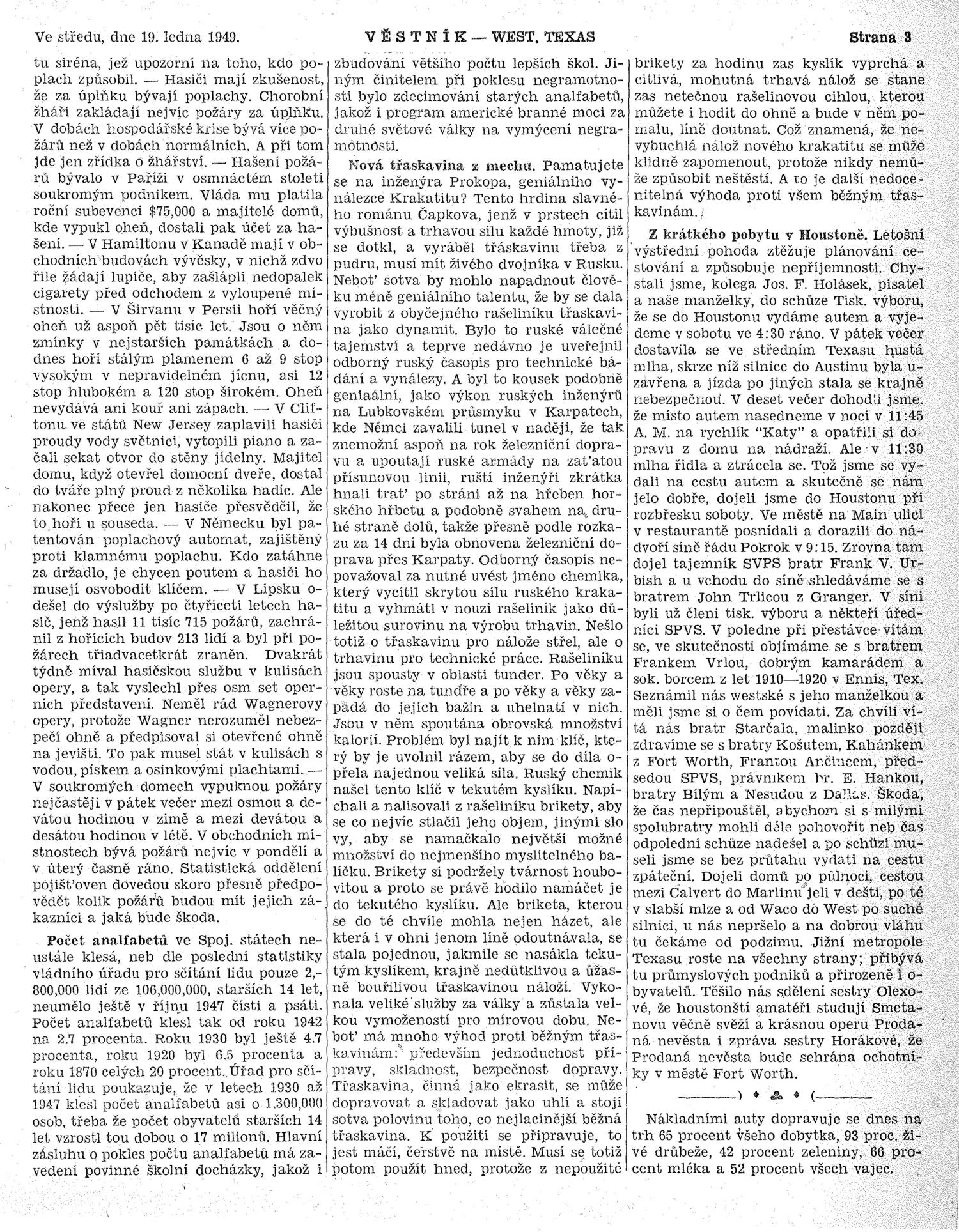 Věstník (West, Tex.), Vol. 37, No. 3, Ed. 1 Wednesday, January 19, 1949                                                                                                      [Sequence #]: 3 of 32