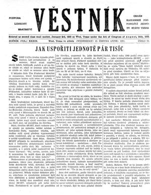 Primary view of object titled 'Věstník (West, Tex.), Vol. 39, No. 24, Ed. 1 Wednesday, June 13, 1951'.