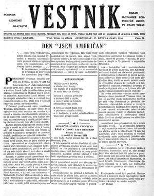 Primary view of object titled 'Věstník (West, Tex.), Vol. 38, No. 20, Ed. 1 Wednesday, May 17, 1950'.