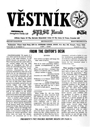 Primary view of object titled 'Věstník (West, Tex.), Vol. 67, No. 11, Ed. 1 Wednesday, March 14, 1979'.