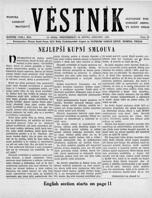 Primary view of object titled 'Věstník (West, Tex.), Vol. 41, No. 35, Ed. 1 Wednesday, August 26, 1953'.