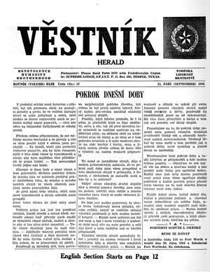 Primary view of object titled 'Věstník (West, Tex.), Vol. 49, No. 37, Ed. 1 Wednesday, September 13, 1961'.