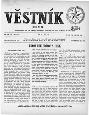 Primary view of object titled 'Věstník (West, Tex.), Vol. 53, No. 39, Ed. 1 Wednesday, September 29, 1965'.