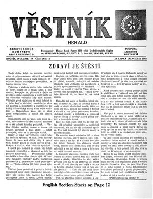 Primary view of object titled 'Věstník (West, Tex.), Vol. 50, No. 2, Ed. 1 Wednesday, January 10, 1962'.