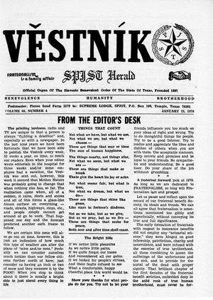 Primary view of object titled 'Věstník (West, Tex.), Vol. 66, No. 4, Ed. 1 Wednesday, January 25, 1978'.