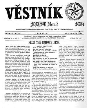 Primary view of object titled 'Věstník (West, Tex.), Vol. 60, No. 12, Ed. 1 Wednesday, March 22, 1972'.
