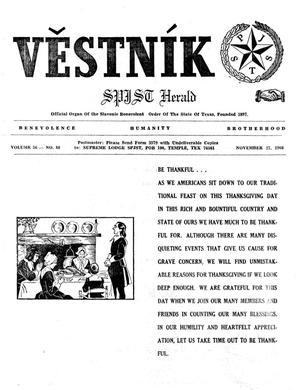 Primary view of object titled 'Věstník (West, Tex.), Vol. 56, No. 48, Ed. 1 Wednesday, November 27, 1968'.