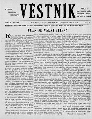 Primary view of object titled 'Věstník (West, Tex.), Vol. 40, No. 28, Ed. 1 Wednesday, July 9, 1952'.