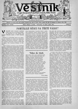 Primary view of object titled 'Věstník (West, Tex.), Vol. 32, No. 17, Ed. 1 Wednesday, April 26, 1944'.