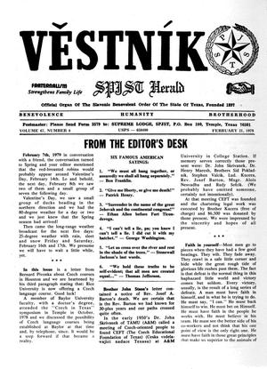 Primary view of object titled 'Věstník (West, Tex.), Vol. 67, No. 8, Ed. 1 Wednesday, February 21, 1979'.