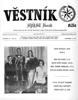 Primary view of object titled 'Věstník (West, Tex.), Vol. 58, No. 42, Ed. 1 Wednesday, October 21, 1970'.