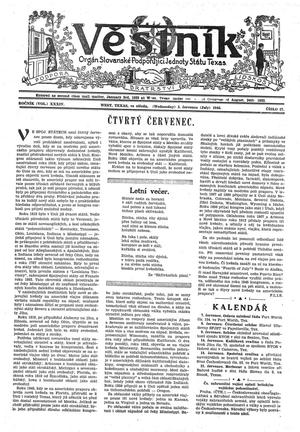 Primary view of object titled 'Věstník (West, Tex.), Vol. 34, No. 27, Ed. 1 Wednesday, July 3, 1946'.