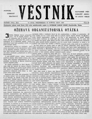 Primary view of object titled 'Věstník (West, Tex.), Vol. 41, No. 20, Ed. 1 Wednesday, May 20, 1953'.