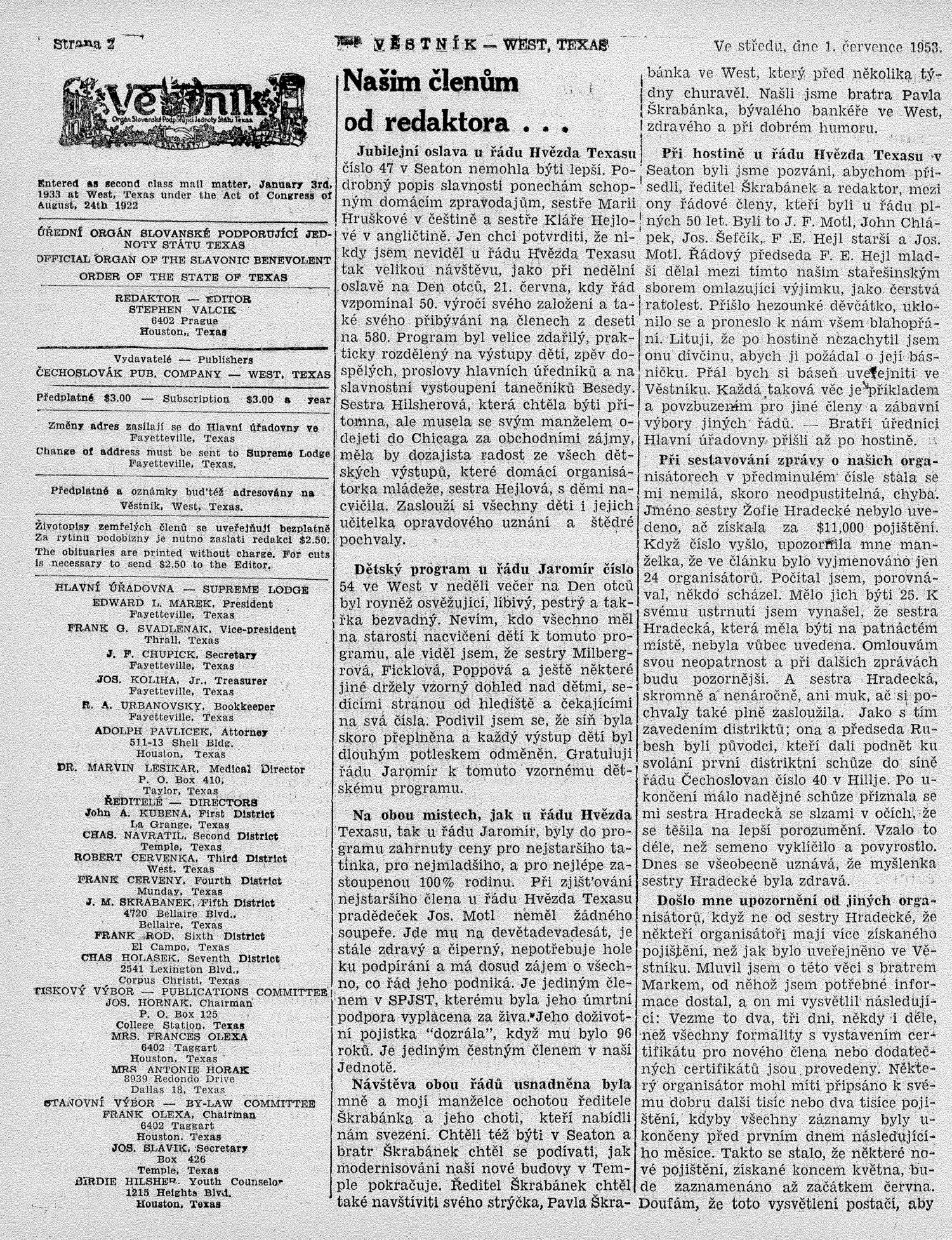 Věstník (West, Tex.), Vol. 41, No. 27, Ed. 1 Wednesday, July 1, 1953                                                                                                      [Sequence #]: 2 of 32