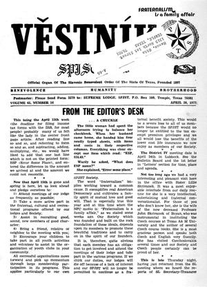 Primary view of object titled 'Věstník (West, Tex.), Vol. 65, No. 16, Ed. 1 Wednesday, April 20, 1977'.