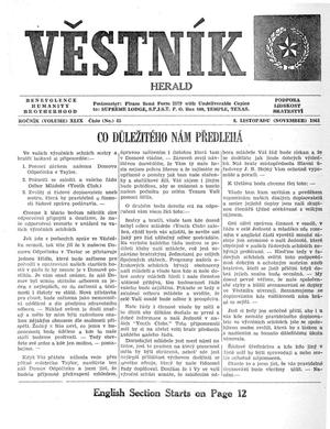 Primary view of object titled 'Věstník (West, Tex.), Vol. 49, No. 45, Ed. 1 Wednesday, November 8, 1961'.