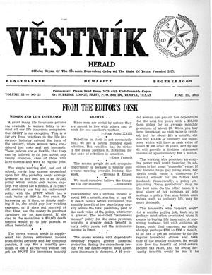 Primary view of object titled 'Věstník (West, Tex.), Vol. 53, No. 25, Ed. 1 Wednesday, June 23, 1965'.