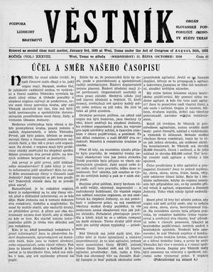 Primary view of object titled 'Věstník (West, Tex.), Vol. 38, No. 41, Ed. 1 Wednesday, October 11, 1950'.