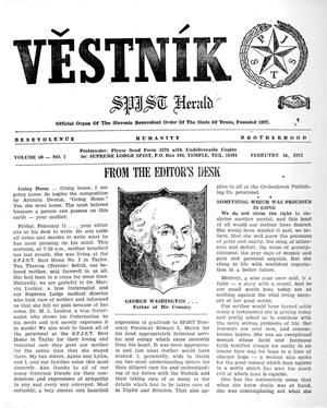 Primary view of object titled 'Věstník (West, Tex.), Vol. 60, No. 7, Ed. 1 Wednesday, February 16, 1972'.
