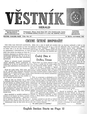Primary view of object titled 'Věstník (West, Tex.), Vol. 49, No. 42, Ed. 1 Wednesday, October 18, 1961'.