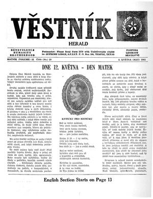 Primary view of object titled 'Věstník (West, Tex.), Vol. 51, No. 19, Ed. 1 Wednesday, May 8, 1963'.