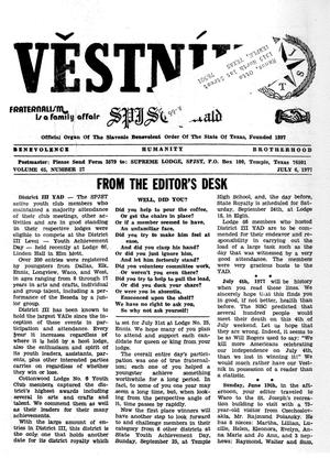 Primary view of object titled 'Věstník (West, Tex.), Vol. 65, No. 27, Ed. 1 Wednesday, July 6, 1977'.