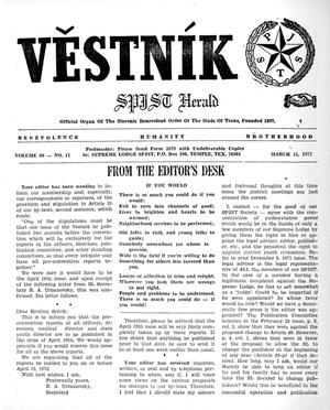 Primary view of object titled 'Věstník (West, Tex.), Vol. 60, No. 11, Ed. 1 Wednesday, March 15, 1972'.