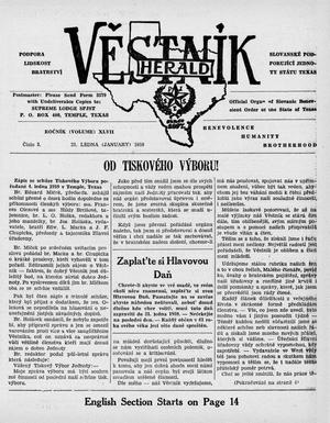 Primary view of object titled 'Věstník (West, Tex.), Vol. 47, No. 3, Ed. 1 Wednesday, January 21, 1959'.