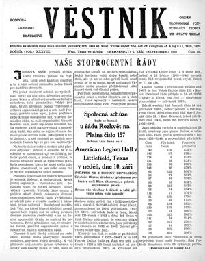Primary view of object titled 'Věstník (West, Tex.), Vol. 38, No. 36, Ed. 1 Wednesday, September 6, 1950'.