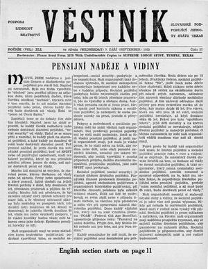 Primary view of object titled 'Věstník (West, Tex.), Vol. 41, No. 37, Ed. 1 Wednesday, September 9, 1953'.