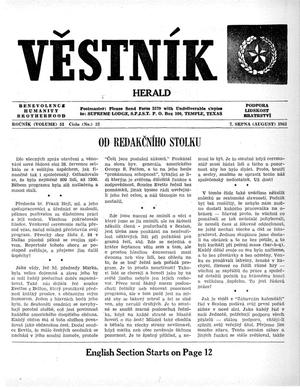Primary view of object titled 'Věstník (West, Tex.), Vol. 51, No. 32, Ed. 1 Wednesday, August 7, 1963'.