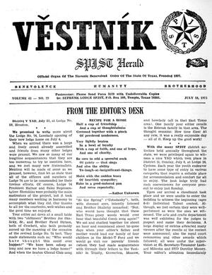 Primary view of object titled 'Věstník (West, Tex.), Vol. 61, No. 29, Ed. 1 Wednesday, July 18, 1973'.